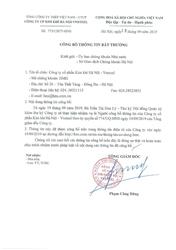 Công ty cổ phần Kim khí Hà Nội - Vnsteel trân trọng thông báo đến Quý vị cổ đông: Từ ngày 19 tháng 09 năm 2019, bà Trần Thị Hoa Lý là nguời công bố thông tin theo ủy quyền số 774/UQ-HNS của Tổng Giám đốc Công ty.